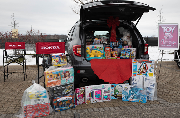 Christmas toys in a Honda CR-V for the toy drive.